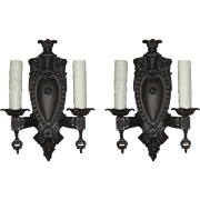 Gorgeous Pair of Antique Neoclassical Cast Iron Sconces