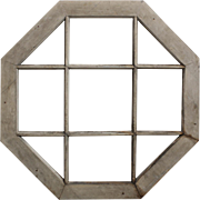 SOLD Charming Antique Octagonal Window with Wood Mullions