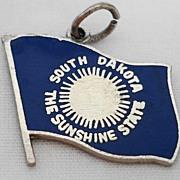 Vintage Sterling Enamel South Dakota State Flag Souvenir Charm