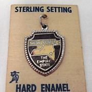 Vintage Sterling Enamel New York Travel Shield The Empire State