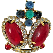 Vintage signed TRIFARI CROWN Brooch Pin Red Cabochons