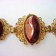 REDUCED Mid-Century Thermoset Brown Victorian Revival Bracelet