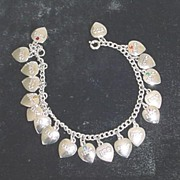 Vintage BETA SIGMA PHI Charm Bracelet Sterling Silver Heart Charms