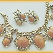 FABULOUS  Circa 1950's ACORN Motif Charm Bracelet & Earrings Demi