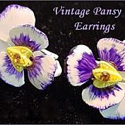 Sweet Vintage Enameled PANSY Earrings Purple with Amber Rhinestones