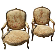 Pair of Louis XV gilt fauteuil, armchair w/ Aubusson style tapestry