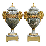 Pair marble urns / lamps with ormolu mounts