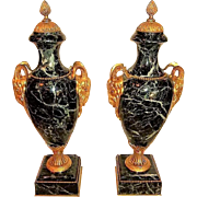 Pair of Verdi Antico (Green) Marble Urns or Cassolette Garnitures