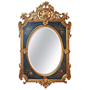 Louis XVI Style Giltwood Mirror With Floral Panels
