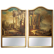 Pair of French Or Italian Trumeau With Capriccio Inset