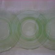 "Depression Glass Hazel Atlas Green ""Florentine"" No. 2 8 1/2"" Plate ( 3 )"