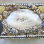 SALE Antique Large Victorian Shell Art Box