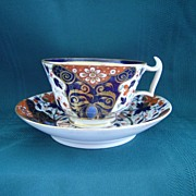 SALE Antique Royal Crown Derby Imari Pattern Bone Porcelain China Cup and Saucer
