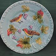 SALE German Majolica Plate with Birds