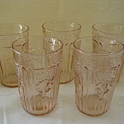 "SALE Set of Five Pink Depression Glass Mayfair ""Open Rose""  Juice Glasses  5 0z. Tum"