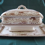 "SALE Doulton ""1884"" Brown Staffordshire Transferware Platter and Tureen Set"