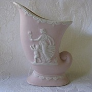 Ucagco Pottery Pink Cornucopia Vase with White Relief Design