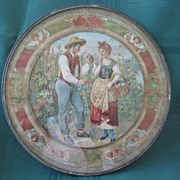 SALE Framed Circular Flue Cover - Man and Lady in Vineyard