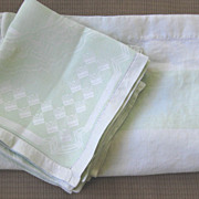SOLD Set of Art Deco Green 1930's Damask Tablecloth and Dinner Napkins