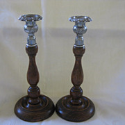 SALE Pair English Wooden Candlesticks with Silver Top