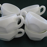 SOLD Set of Eight White Milk Glass Punch Cups
