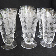 Seven 1940's Elegant Etched Crystal Juice Glasses