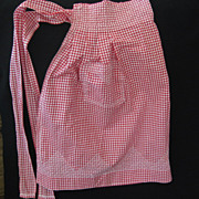 Vintage Red White Check Cotton Gingham Apron