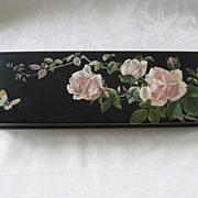 19th Century Victorian Paper Mache Box with Flower Decoupage