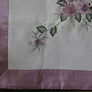 SOLD Austrian Tablecloth with Satin Border and Embroidered Roses