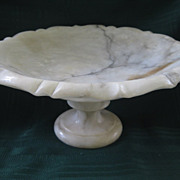 SALE Antique Victorian Alabaster Bowl on Pedestal