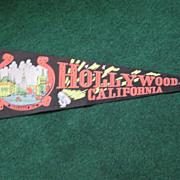 SALE Vintage Souvenir Felt Pennant Hollywood