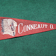 SALE Vintage Indian Head Souvenir Pennant Conneaut Ohio