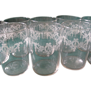 SALE Nine Vintage Crystal Etched Juice Glasses