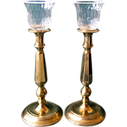 SALE Pair of Tall Brass Candlesticks with Removable Crystal Votive Holders