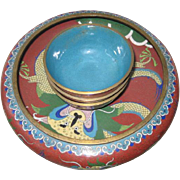 Set of Large Cloisonne Chinese Bowl with Three Small Bowls