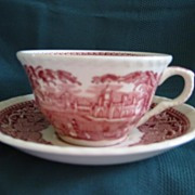 Masons Vista Red Cup and Saucer- Staffordshire ( 3)