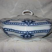 "SALE Staffordshire Flow Blue Vegetable Lidded Dish  Adderleys  ""Lauriea"" Pattern"