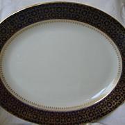 "Large English Ashworth Bros. Platter 17 1/2"" x 14""  Cobalt Blue and Gold"
