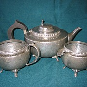 SALE English Hammered  Pewter Tea Set