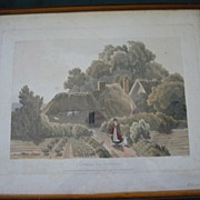 "SALE Very Old  Wood  Glassed Framed English Print ""Cottage Near Plymouth"""
