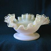Fenton Glass White Yellow Custard Bowl or Dish