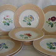 Hand Painted Botanical Dessert Service -   Plates and Compote