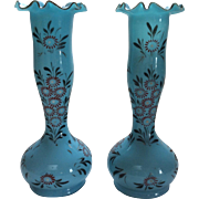 Pair Antiques Blue Opaline or Bristol Glass Hand Painted Vases