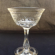 SOLD Vintage English Intaglio Cut Crystal  Champagne Goblet