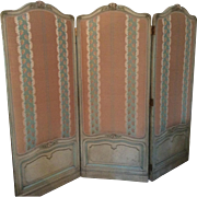 SALE Antique Louis XV Style French Screen Tri-Fold with Scalamandre Fabric Upholstery