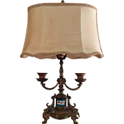 French Gilt Metal Bouillotte Lamp with Turquoise Sevres Style Porcelain Plaque