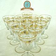 Set 11 Vintage Gilt and Raised Enamel Goblets