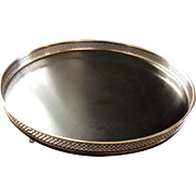 Silver Plate Large Serving Tray With Gallery