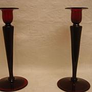 SOLD Pair Selenium Red Steuben Glass Candlesticks