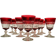 Pairpoint Ruby Cut to Clear Crystal Goblets set of 6
